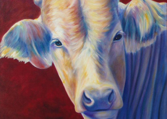 Bull Greeting Card featuring the painting Jorge by Shannon Grissom