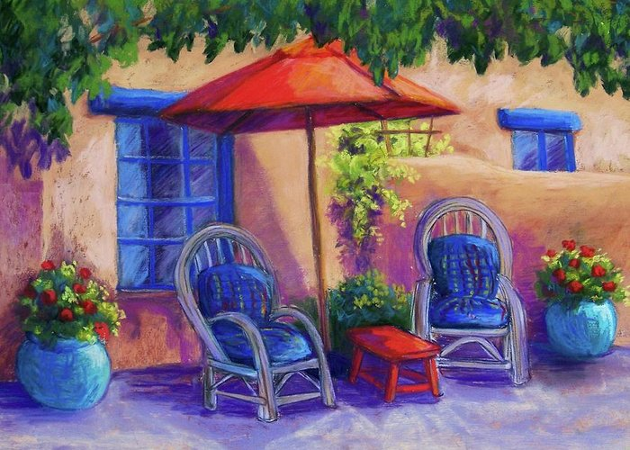 Pastel Greeting Card featuring the pastel Josefina's Courtyard by Candy Mayer