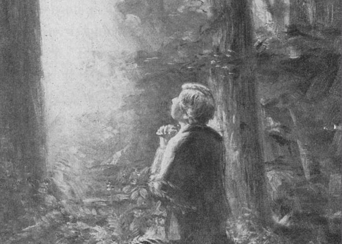 First Vision Greeting Card featuring the painting Joseph Smith Praying In The Grove by Lewis A Ramsey