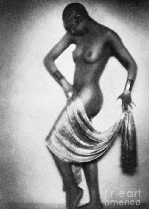 1929 Greeting Card featuring the painting Josephine Baker (1906-1975) by Granger