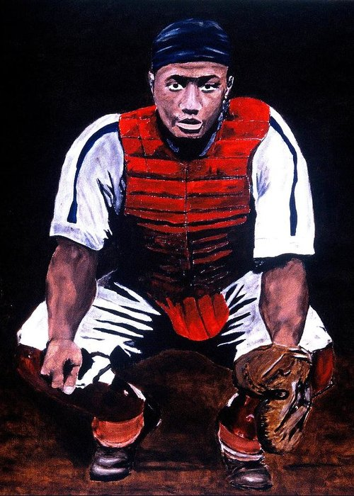 Josh Gibson Greeting Card featuring the painting Josh Gibson - Catcher by Ralph LeCompte