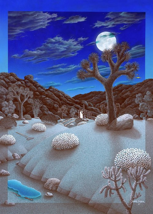 Landscape Greeting Card featuring the painting Joshua Tree At Night by Snake Jagger