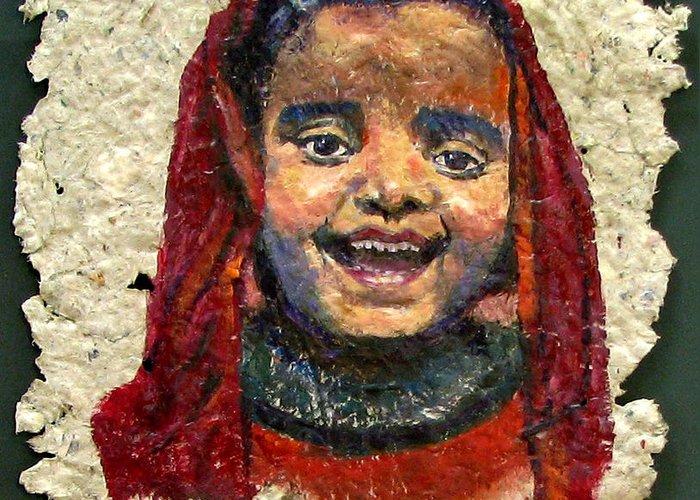 Joy Greeting Card featuring the painting Joy by Art Nomad Sandra Hansen