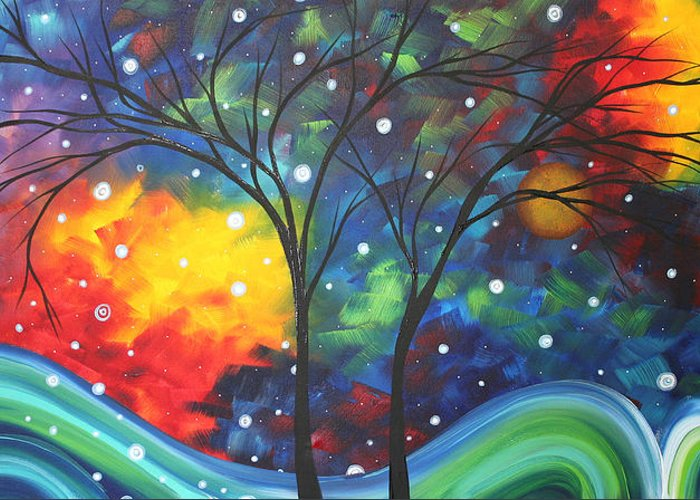 Abstract Greeting Card featuring the painting Joy By Madart by Megan Duncanson