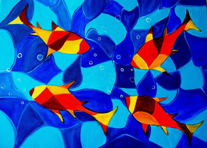 Abstract.acrylic.fish.bubbles.art.painting.modern.contemporary.popblue Red Bubbles Yellow Landscape Greeting Card featuring the painting Joy Fish Abstract by Manjiri Kanvinde