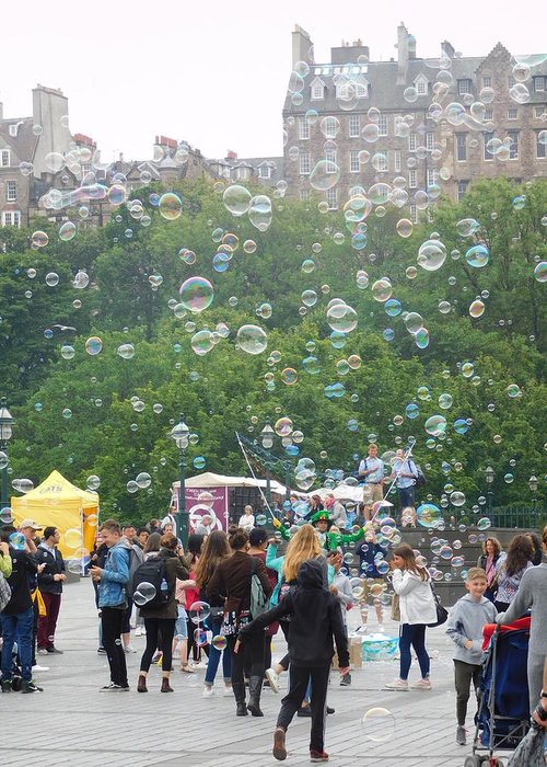 Edinburgh Greeting Card featuring the photograph Joy Of Bubbles by Shelby Bryson