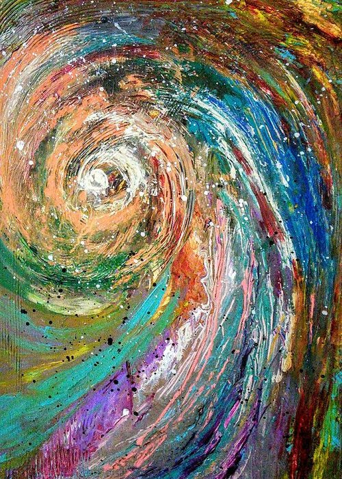 Spinning Colors Greeting Card featuring the painting Joy by Valerie Josi