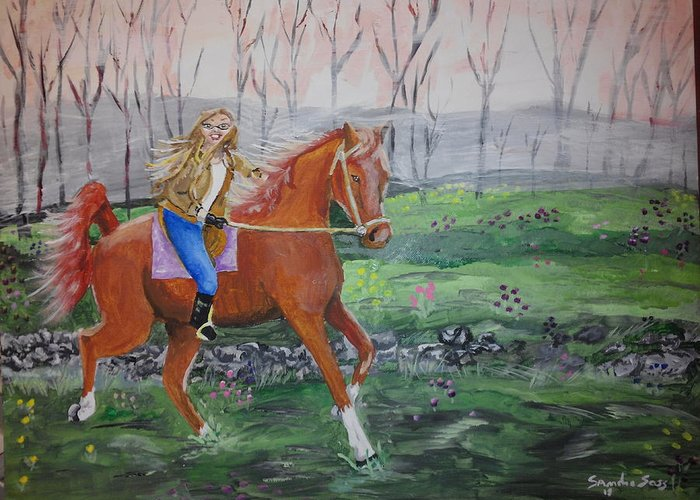 Landscape Greeting Card featuring the painting Joyful Ride by Sandra Sass