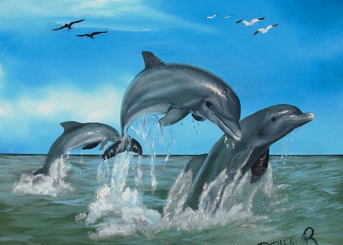 Dolphins Greeting Card featuring the painting Joyful Trio by Darlene Green