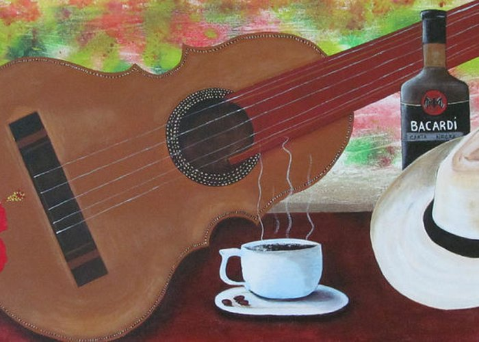 Guitar Greeting Card featuring the painting Joys Of Life by Gloria E Barreto-Rodriguez