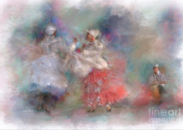 Tropical Greeting Card featuring the digital art Jubilation by Carolyn Staut