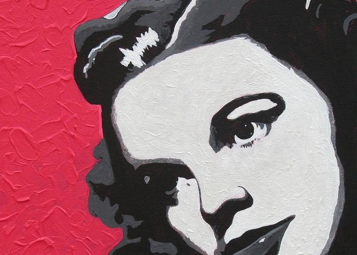 Portrait Greeting Card featuring the painting Judy Garland by Amy Parker Evans