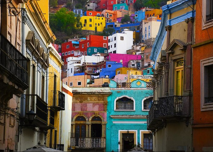 Architecture Greeting Card featuring the photograph Juegos In Guanajuato by Skip Hunt