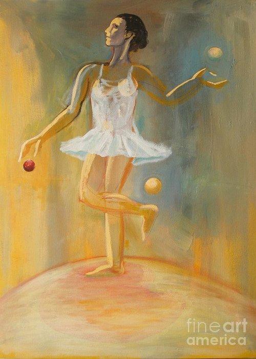 Juggling Greeting Card featuring the painting Juggling by Ushangi Kumelashvili