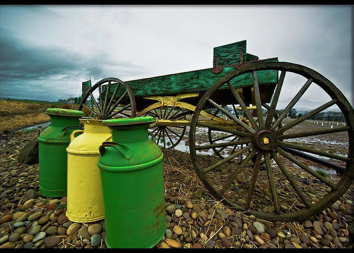Milk Greeting Card featuring the photograph Jugs And Wagon by Dale Stillman