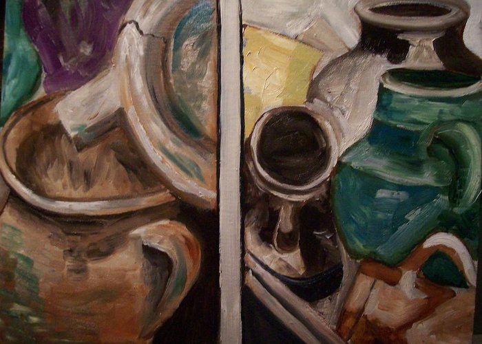 Pottery Greeting Card featuring the painting Jugs by Mikayla Ziegler