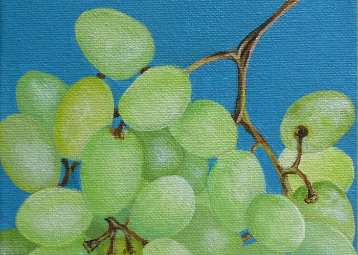 Grapes Greeting Card featuring the painting Juicy Grapes by Tammy Watt