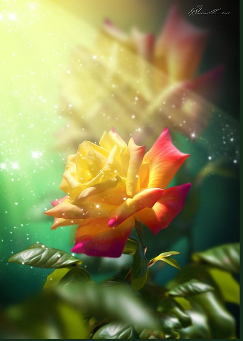 Anniversary Greeting Card featuring the digital art Juicy Rose by Svetlana Sewell