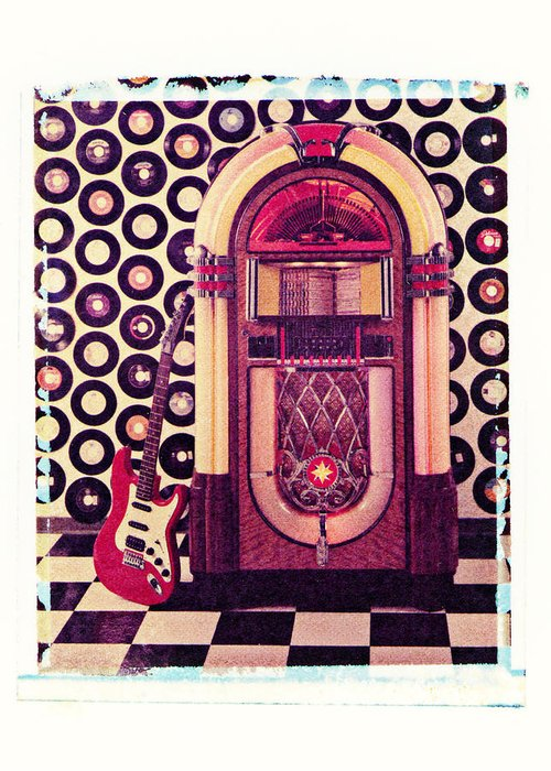Jukebox Electric Guitar Music Rock N Roll Sound Machine Records Greeting Card featuring the photograph Juke Box Polaroid Transfer by Garry Gay