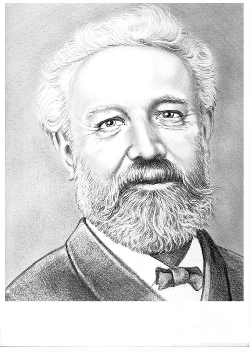 Jules Verne Greeting Card featuring the drawing Jules Verne by Murphy Elliott