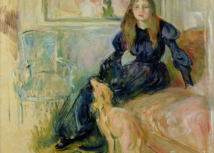 Julie Greeting Card featuring the painting Julie Manet And Her Greyhound Laerte by Berthe Morisot