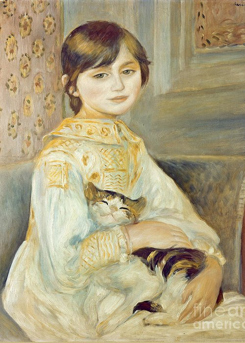 Julie Greeting Card featuring the painting Julie Manet With Cat by Pierre Auguste Renoir