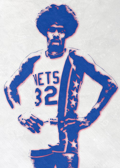 Julius Erving Mixed Media Greeting Cards