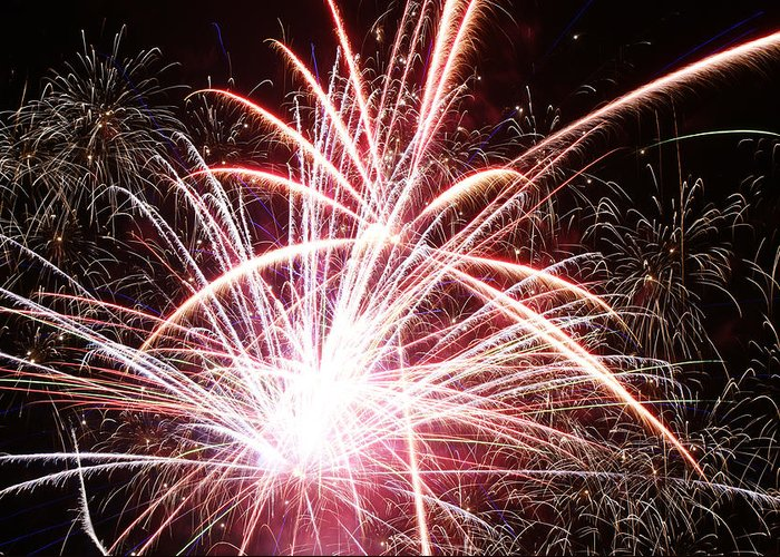 Fireworks Greeting Card featuring the photograph July 4 by Terry Hoss