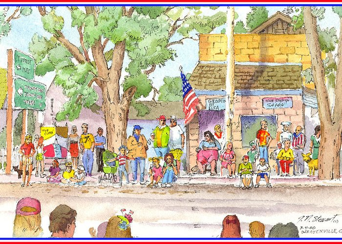 Fourth Of July Greeting Card featuring the painting July 4th 2000 by John Norman Stewart