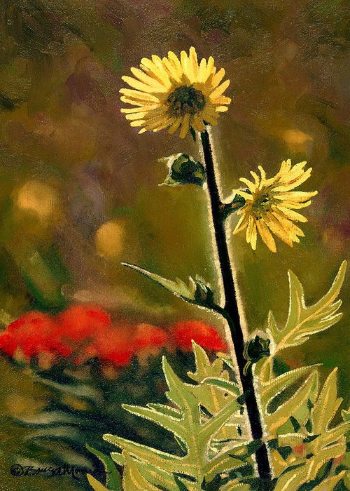 Prairie Flowers Greeting Card featuring the painting July Afternoon-compass Plant by Bruce Morrison