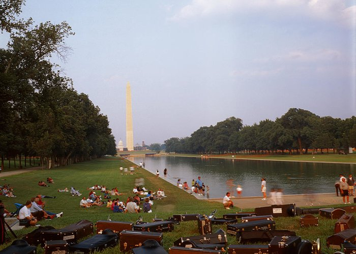 Water washington Monument Lawn Grass Music People Greeting Card featuring the photograph July In Dc by Lawrence Costales