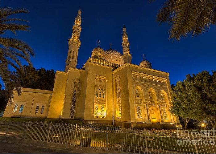 Dubai City Greeting Card featuring the photograph Jumeirah Mosque In Dubai, Uae by Ivan Batinic
