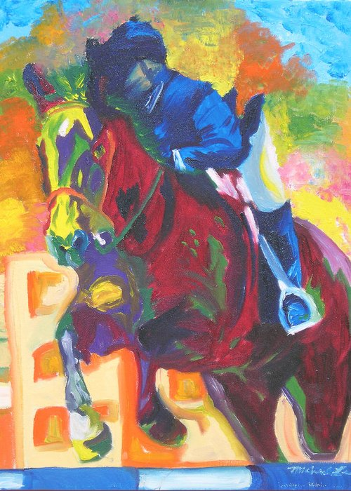 Horse Jumping Greeting Card featuring the painting Jump Off by Michael Lee