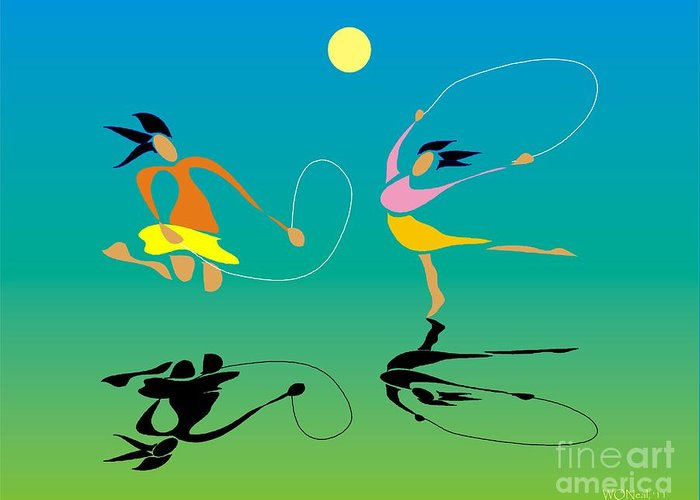 Girls Greeting Card featuring the digital art Jump-rope by Walter Oliver Neal