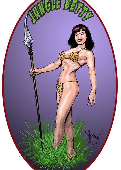 Betty Page Greeting Card featuring the digital art Jungle Betty T-shirt Design by Will Brown