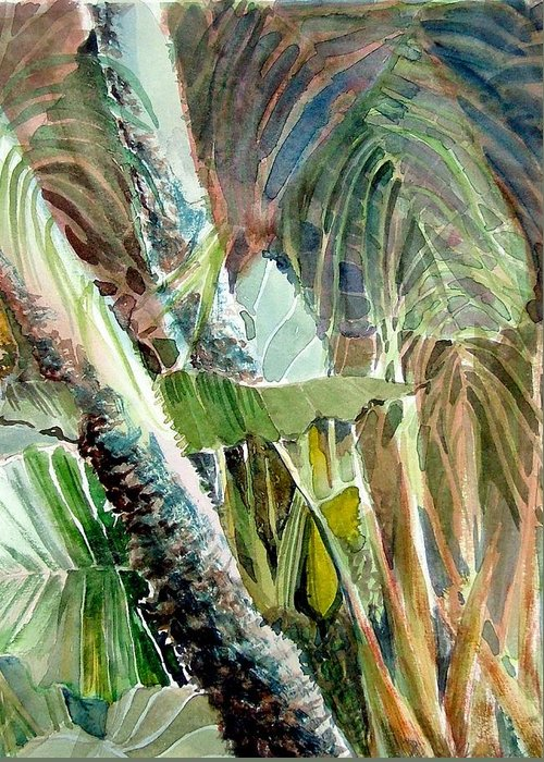 Palm Tree Greeting Card featuring the painting Jungle Light by Mindy Newman