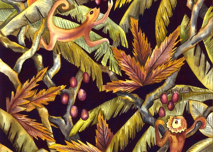 Tropical Greeting Card featuring the painting Jungle Monkeys by Leslie Marcus