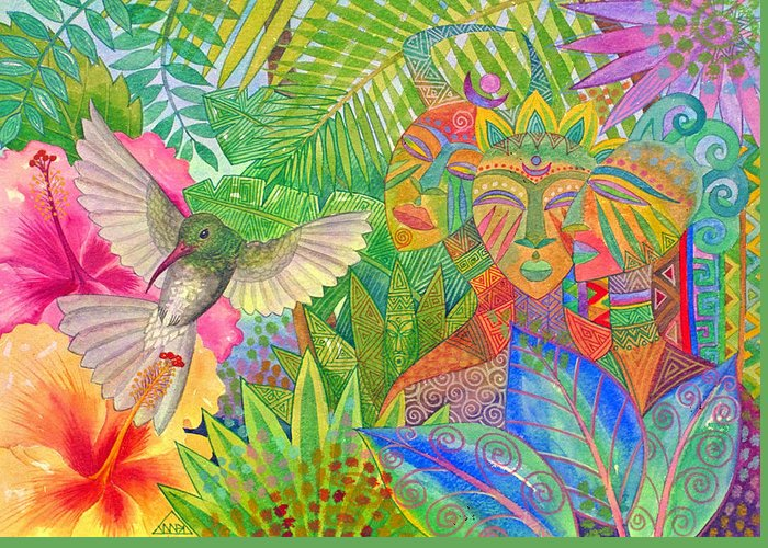 Tropical Exotic Jungle Wild Life Bird Spirit Masks Greeting Card featuring the painting Jungle Spirits And Humming Bird by Jennifer Baird