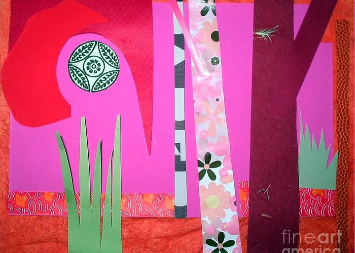 Landscape Greeting Card featuring the mixed media Jungle Temple by Debra Bretton Robinson