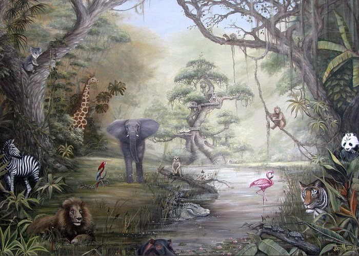 Jungle Greeting Card featuring the painting Jungle Treehouse by Judy Merrell