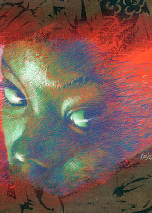 Portraits Greeting Card featuring the painting Junglevision by Ken Meyer jr