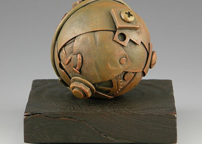 Vesery Greeting Card featuring the sculpture Junkyard Dog Ball by Jacques Vesery