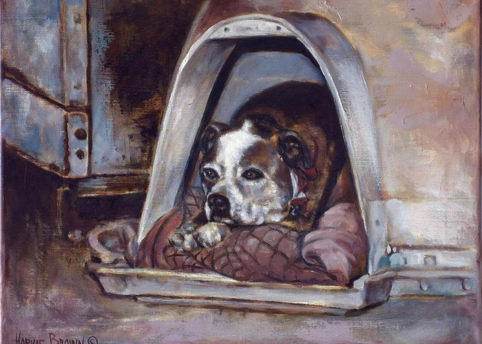Dog Greeting Card featuring the painting Junkyard Dog by Harvie Brown