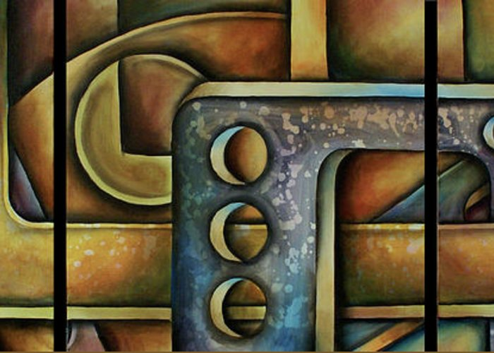Abstract Greeting Card featuring the painting Junkyard by Kyle Lang