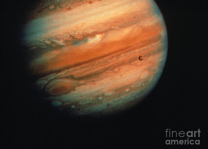 1970s Greeting Card featuring the photograph Jupiter, Europa, & Io by Granger