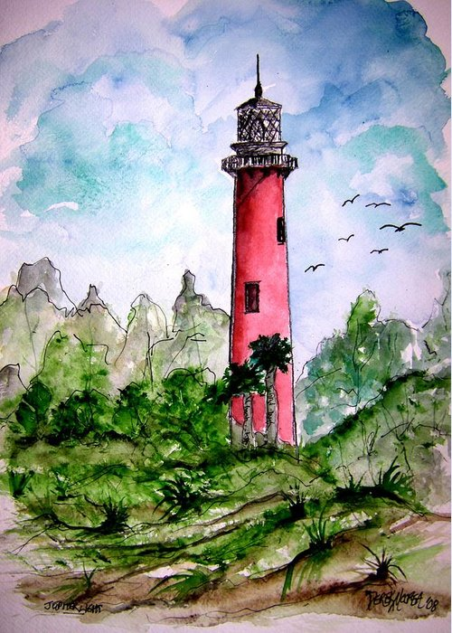 Lighthouse Greeting Card featuring the painting Jupiter Florida Lighthouse by Derek Mccrea