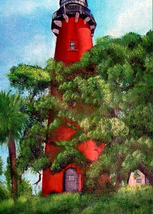 Jupiter Lighthouse Greeting Card featuring the painting Jupiter Inlet Lighthouse by Darlene Green