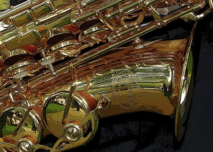 Sax Greeting Card featuring the photograph Jupiter Saxophone by Michelle Calkins