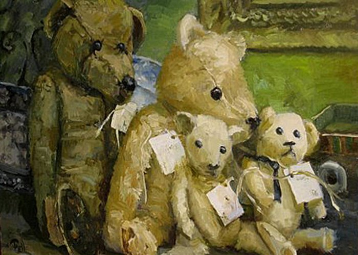 Antique Teddy Bears Greeting Card featuring the painting Just A Lookin For A Home by Lilli Pell