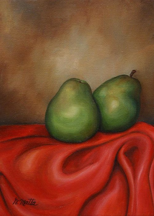 Still Life Greeting Card featuring the painting Just A Pair by Gretchen Matta